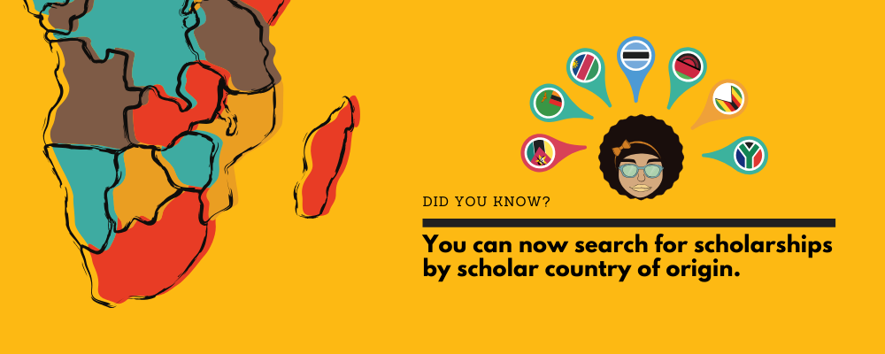 You can now search for scholarships by scholar country of origin